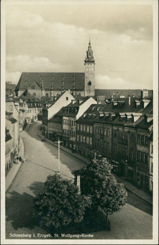 Ansichtskarte Schneeberg (Erzgebirge) Straßenpartie zur Kirche 1934 0