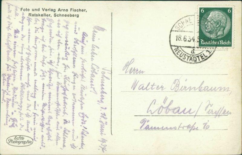 Ansichtskarte Schneeberg (Erzgebirge) Straßenpartie zur Kirche 1934 1