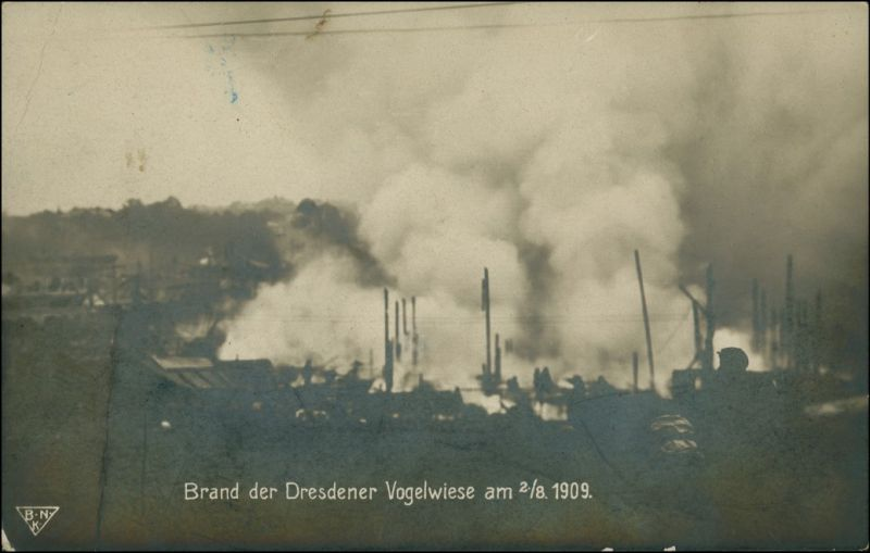 Ansichtskarte Dresden Brand der Dresdener Vogelwiesen 1909 0