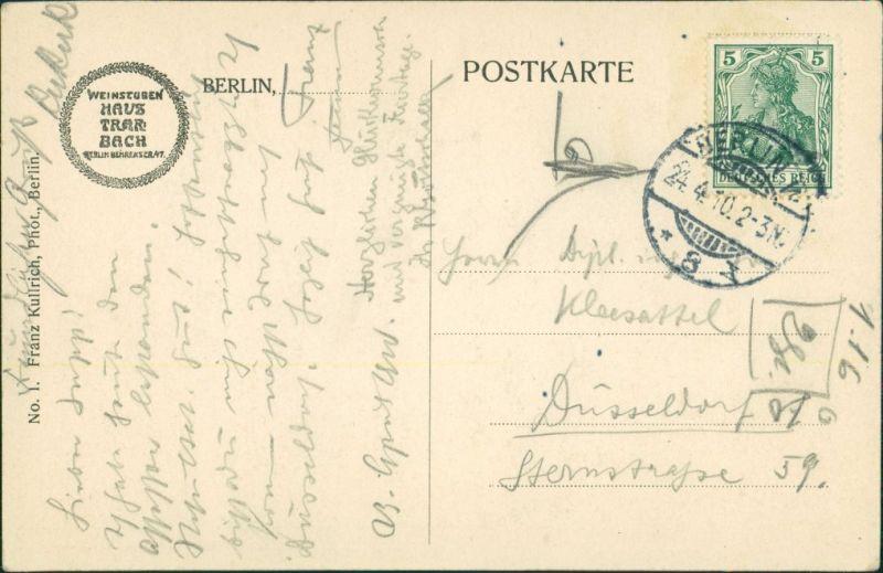 Ansichtskarte Mitte-Berlin Haus Trarbach - Erler Saal 1910 1