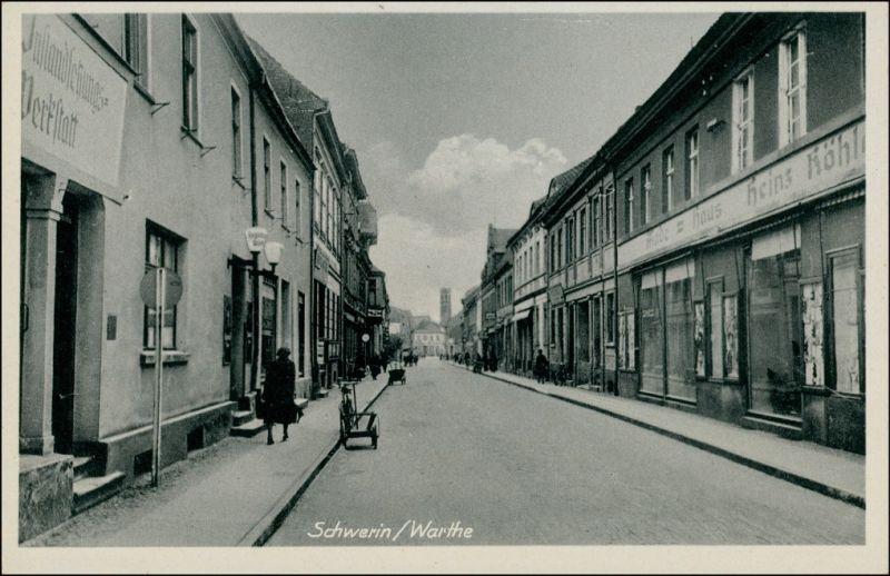 Postcard Schwerin an der Warthe Skwierzyna Geschäfte - Straße 1932