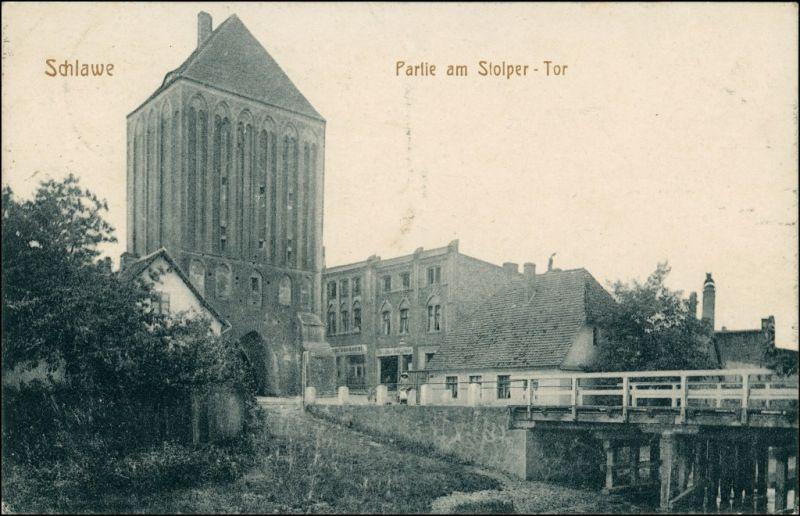 Postcard Schlawe Sławno Am Stolper Tor - Straße 1919 0