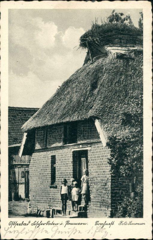 Postcard Fischerkathen Pogorzelica Haus mir Störchen 1937 0