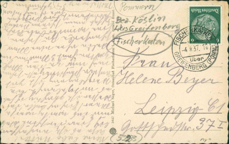 Postcard Fischerkathen Pogorzelica Haus mir Störchen 1937 1