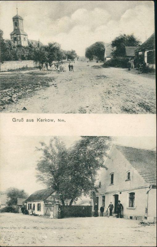 Postcard Kerkow (Neumark) Kierzków 2 Bild: Straße und Gaststätte 1909