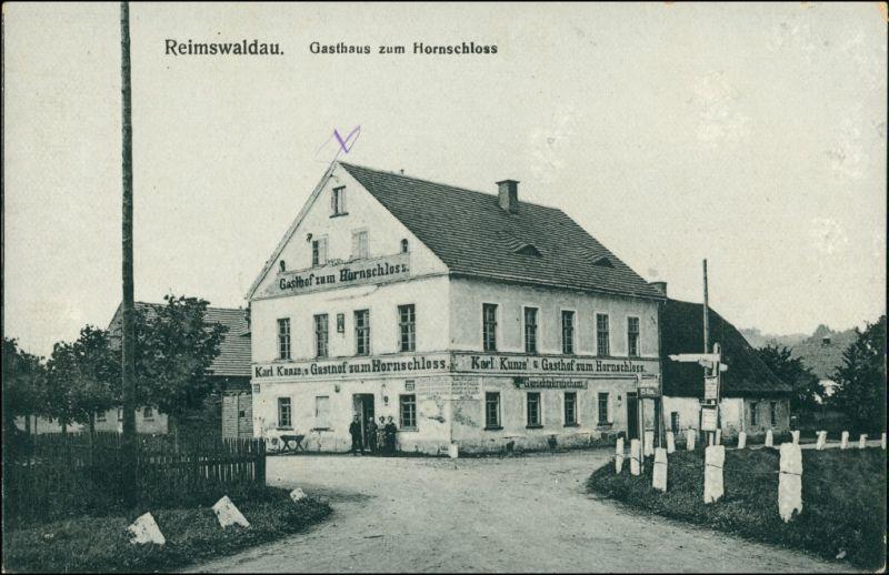 Reimswaldau Rybnica Leśna Gasthaus zum Hornschloss Kr. Sprottau  1915 0