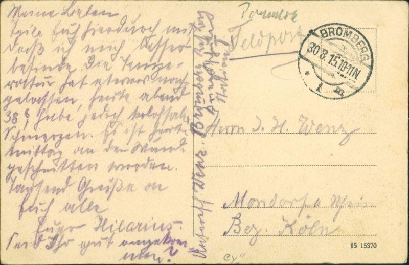 Postcard Bromberg Bydgoszcz von der Danziger Brücke 1915 1