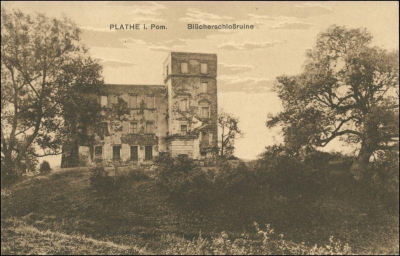Postcard Plathe Płoty Blücherschlossruine 1917 0