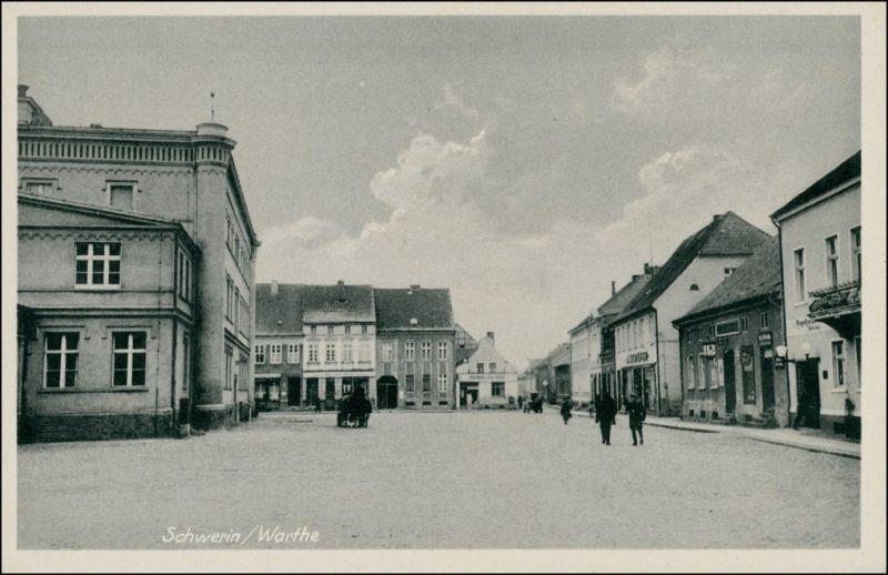 Schwerin an der Warthe Skwierzyna Straßenpartie - Geschäfte 1934 0