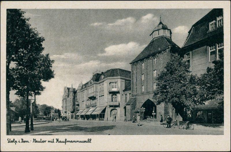 Postcard Stolp Słupsk Straßenpartie - Kaufmannswall 1934