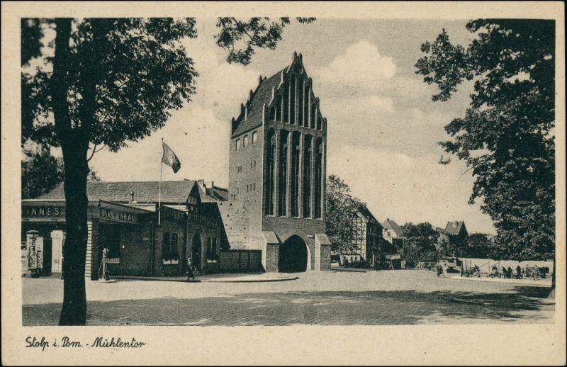 Postcard Stolp Słupsk Kiosk - Straßenpartie am Mühlentor 1932 0