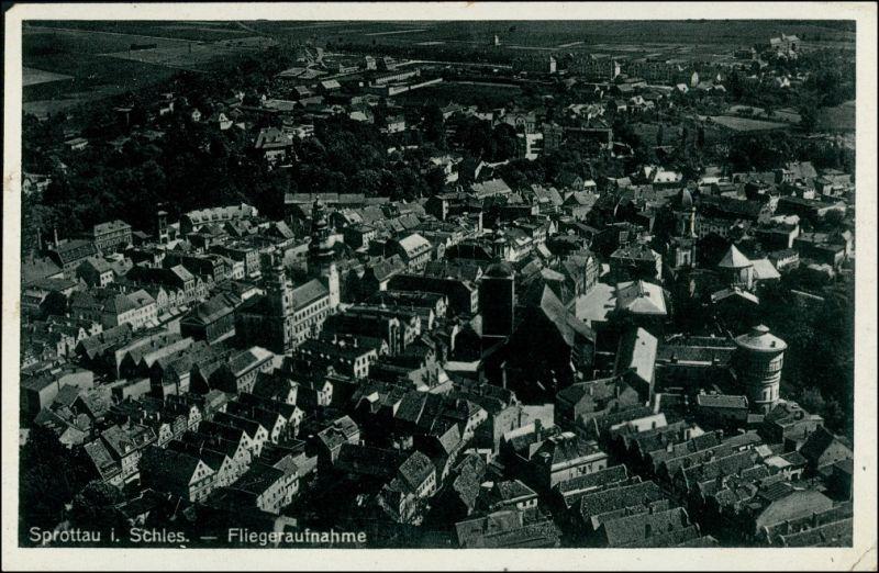 Postcard Sprottau Szprotawa Luftbild 1938 0