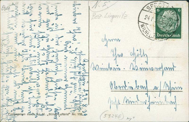 Postcard Sprottau Szprotawa Luftbild 1938 1