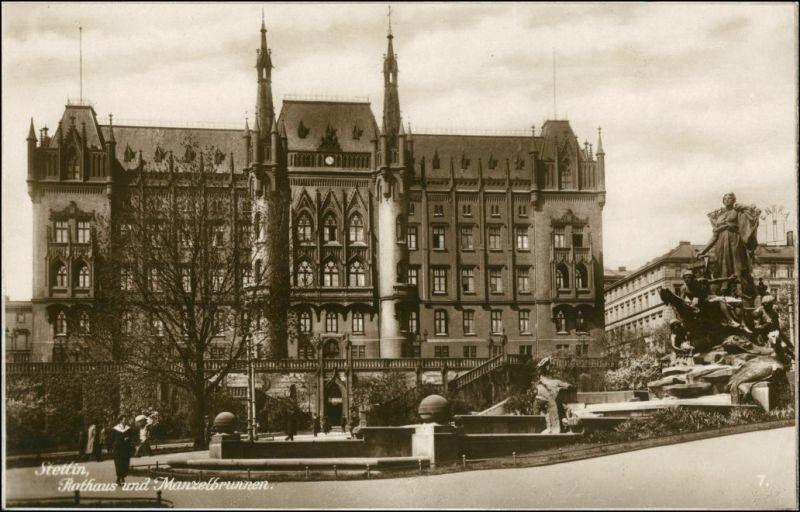 Postcard Stettin Szczecin Rathaus - Manzelbrunnen 1928 0