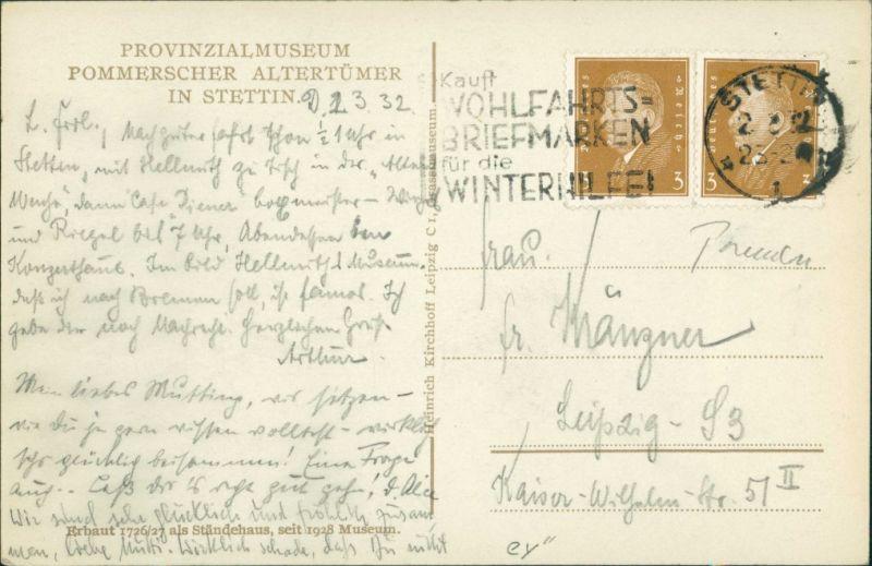 Postcard Stettin Szczecin Provinzial Museum 1932 1
