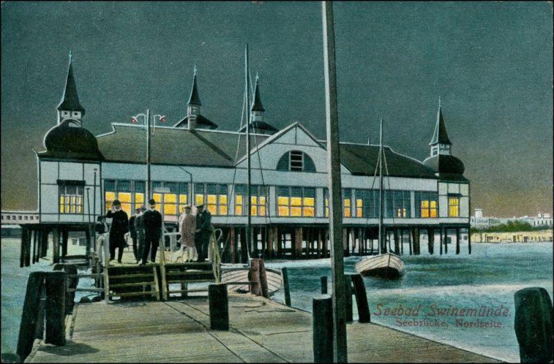Postcard Swinemünde Świnoujście Seebrücke bei Nacht 1913 0