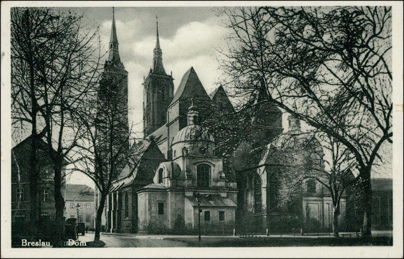 Postcard Breslau Wrocław Straßenpartie Dom 1933 0