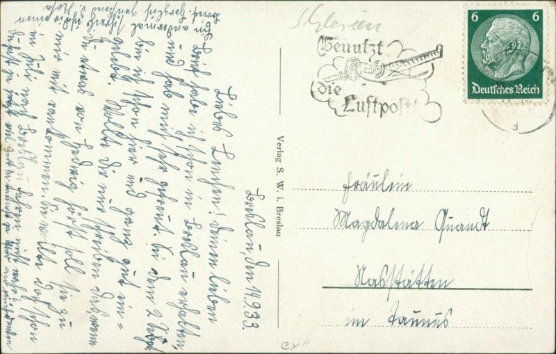 Postcard Breslau Wrocław Straßenpartie Dom 1933 1