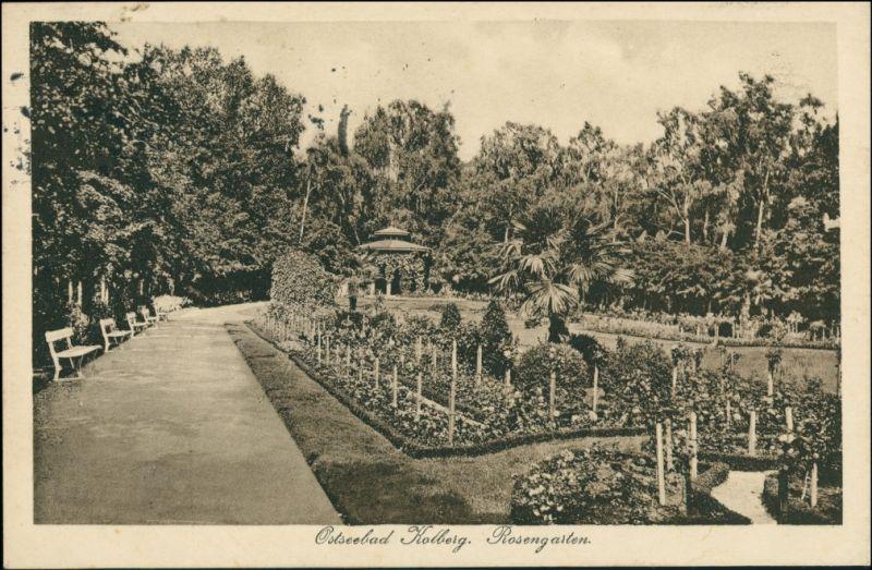 Postcard Kolberg Kołobrzeg Partie im Rosengarten 1922 0