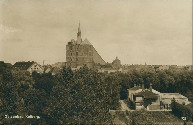 Postcard Kolberg Kołobrzeg Blick auf die Stadt 1928 0
