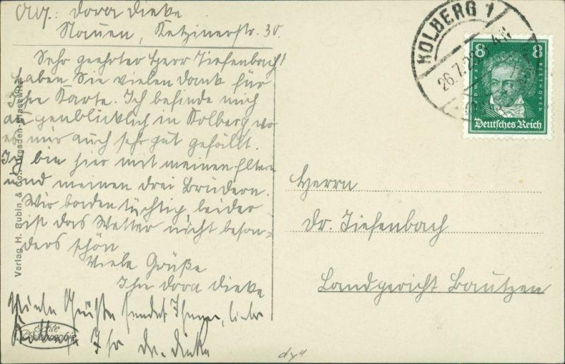 Postcard Kolberg Kołobrzeg Blick auf die Stadt 1928 1