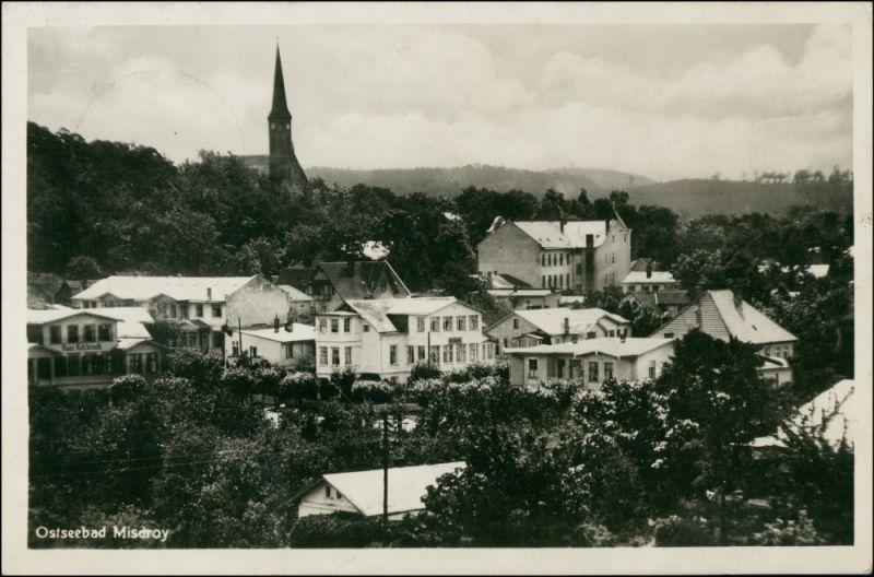 Postcard Misdroy Międzyzdroje Blick auf Stadt und Kirche 1942 0