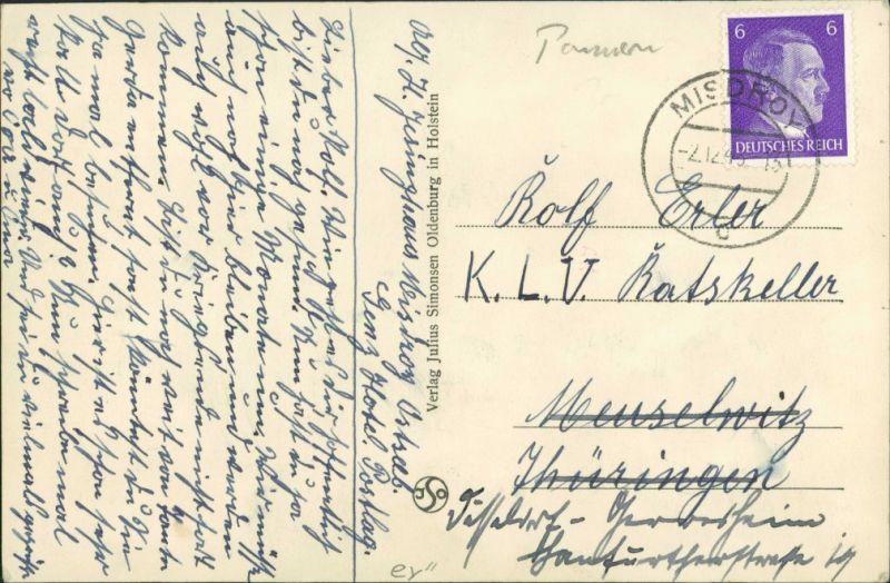 Postcard Misdroy Międzyzdroje Blick auf Stadt und Kirche 1942 1