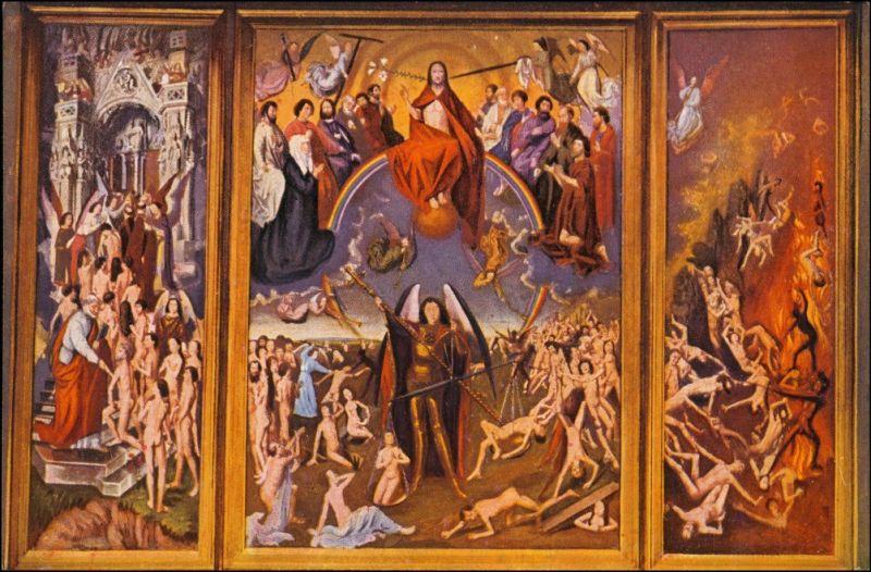 Postcard Danzig Gdańsk/Gduńsk Marienkirche das jüngste Gericht 1915 0