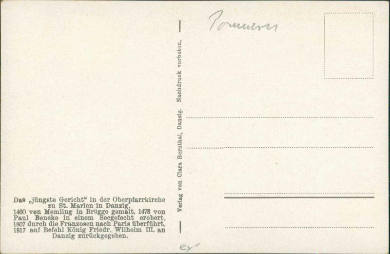 Postcard Danzig Gdańsk/Gduńsk Marienkirche das jüngste Gericht 1915 1