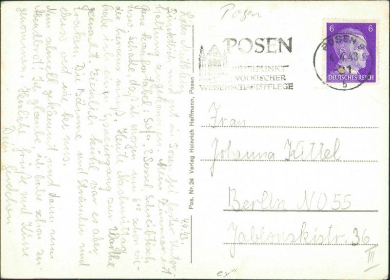 Postcard Posen Poznań Reichsarchiv 1942 1
