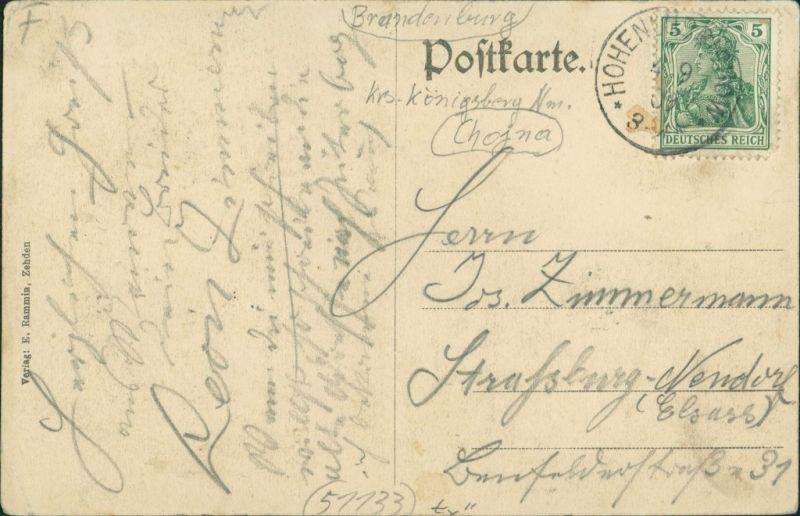Hohenlübbichow Lubiechów Górny 4 Bild: Stadt, Straßen Zehden Greifenhagen 1909 1