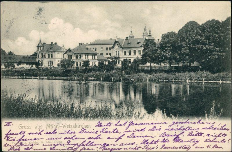 Postcard Mährisch Weißkirchen Hranice na Moravě Flusspartie 1901