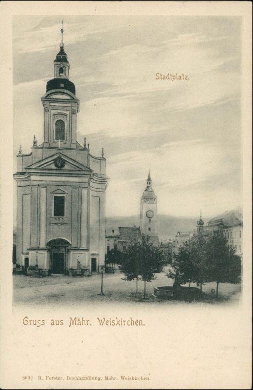 Mährisch Weißkirchen Hranice na Moravě Stadtpartie an der Kirche 1908 0