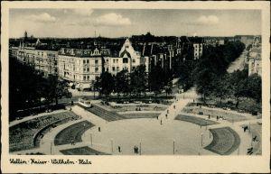Ansichtskarte Stettin Szczecin Kaiser Wilhelmplatz mit Straßenbahn v2 1937