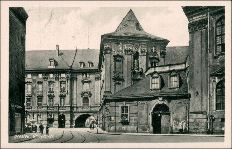 Postcard Breslau Wrocław Universität - Straßenpartie 1934