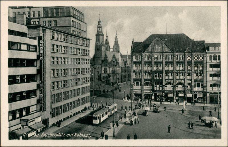 Postcard Breslau Wrocław Blücherplatz und Rathaus 1942 0