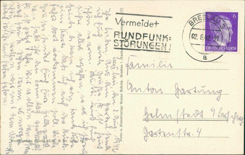Postcard Breslau Wrocław Blücherplatz und Rathaus 1942 1