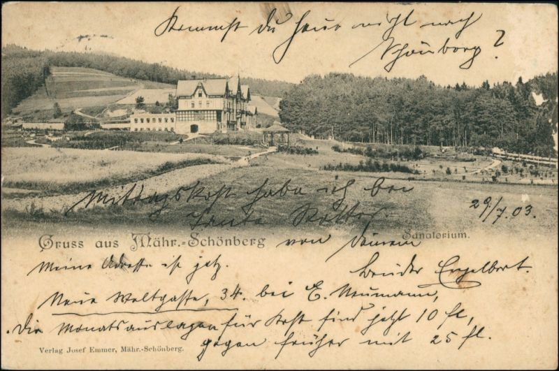 Postcard Mährisch Schönberg Šumperk Partie am Sanatorium 1903 0