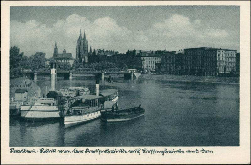 Postcard Breslau Wrocław Dampfer und Lessingbrücke 1930 0
