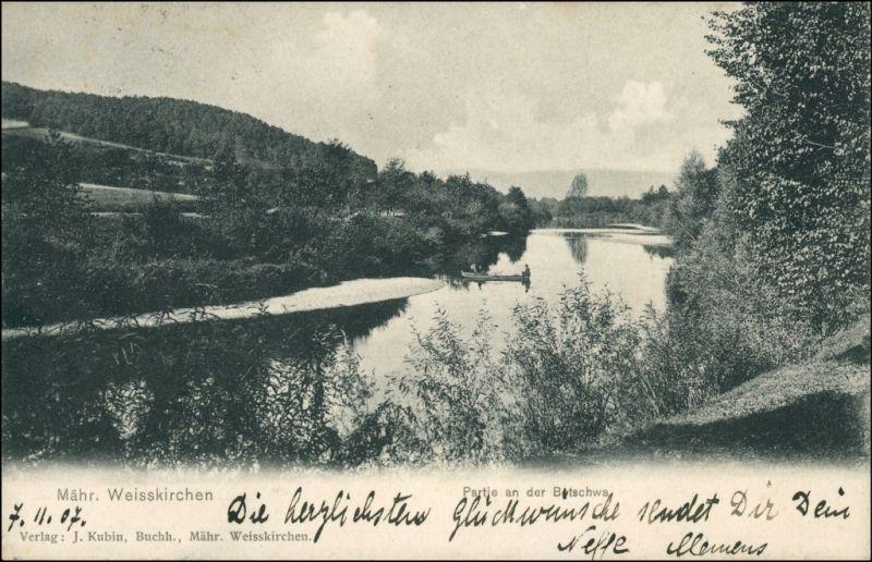 Postcard Mährisch Weißkirchen Hranice na Moravě Flusspartie 1907