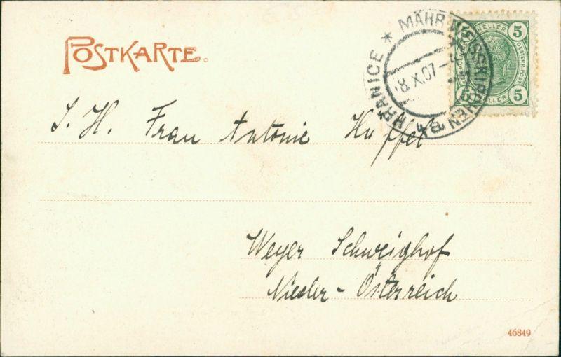 Postcard Mährisch Weißkirchen Hranice na Moravě Flusspartie 1907 1