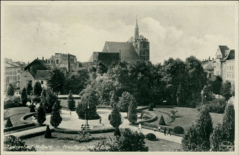 Postcard Kolberg Kołobrzeg Preußenplatz 1942 0