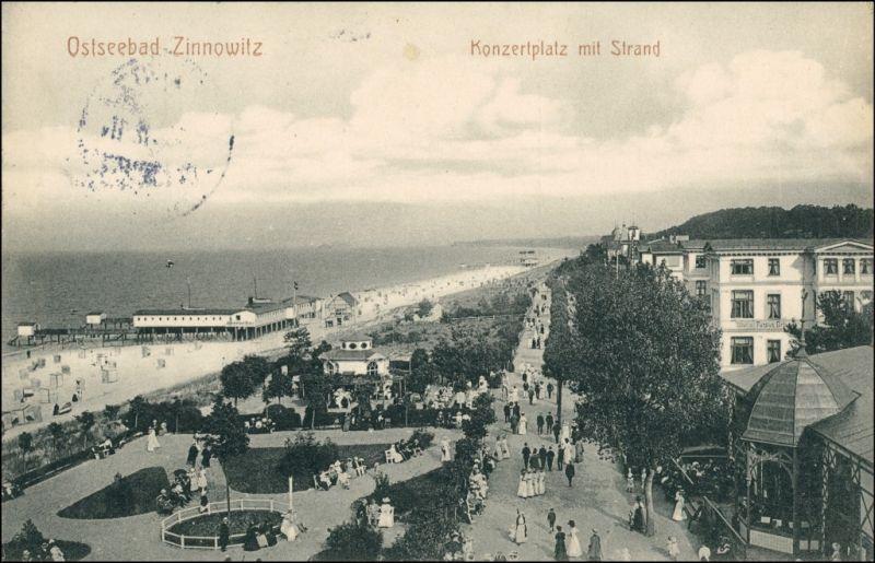 Ansichtskarte Zinnowitz Konzertplatz mit Strand 1912 0