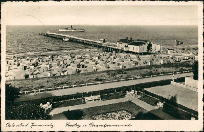 Ansichtskarte Zinnowitz Seesteg und Strandpromenade 1935 0