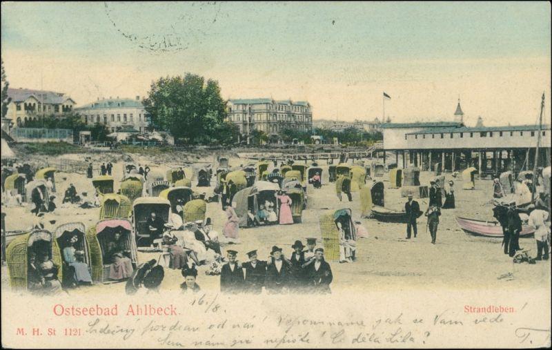 Ansichtskarte Ahlbeck (Usedom) Strandleben - Hotels 1908 0
