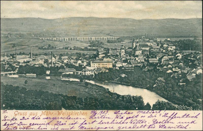 Mährisch Weißkirchen Hranice na Moravě Blick auf die Stadt 1904