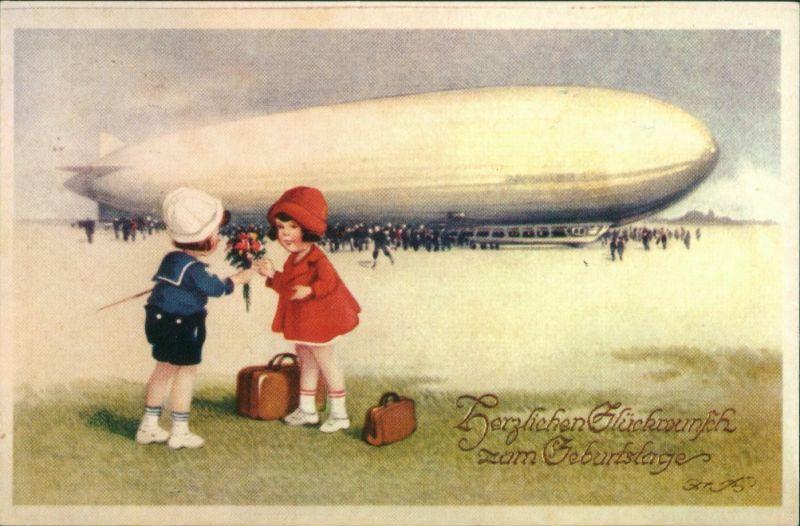 Ansichtskarte  Geburtstag Junge und Mädchen vor dem Zeppelin 1920