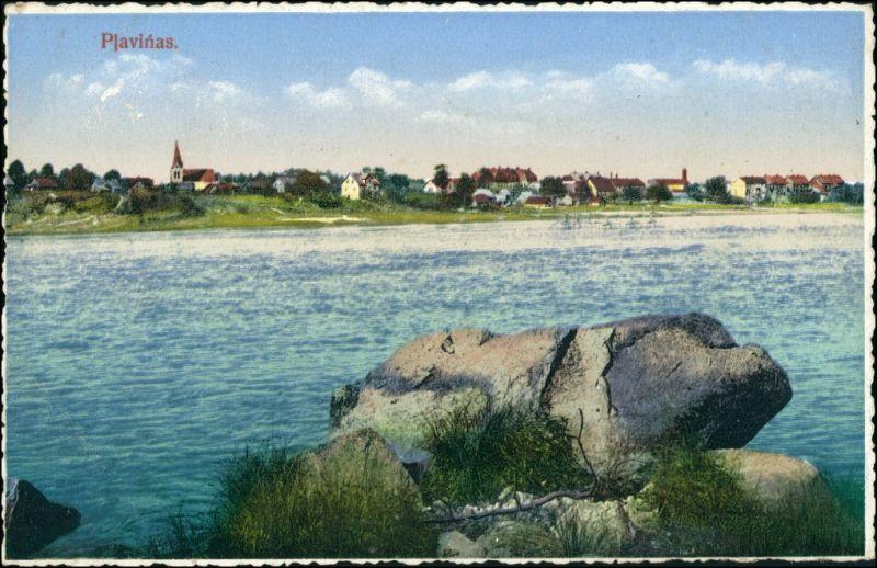 Postcard Pļaviņas Blick auf die Stadt 1922