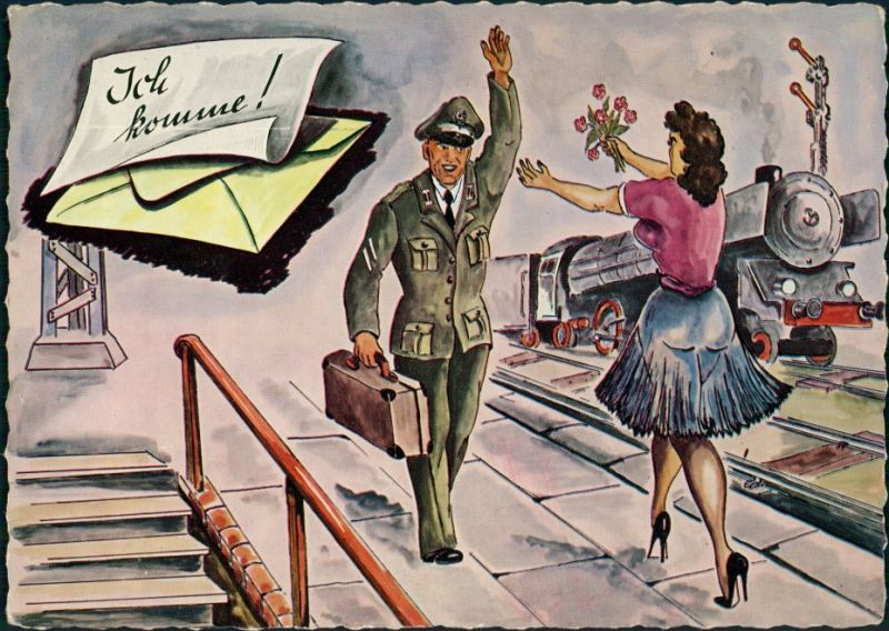 Ansichtskarte  Soldat, Frau Dampflokomotive - Serie: Ich komme/Wir kommen 1960