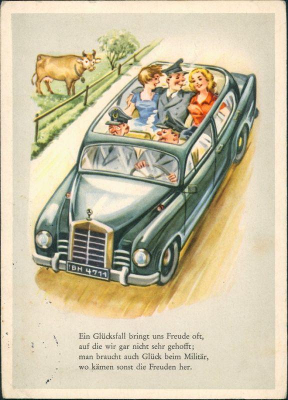 Ansichtskarte  Soldat mit Frauen im Mercedes Cabrio Scherzkarte 1961
